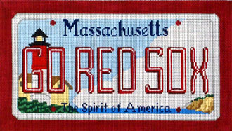 Go Red Socks License Plate  (Handpainted by CBK Needlepoint Collection)