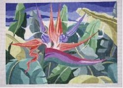 Bird of Paradise Rug     (handpainted by Jean Smith)