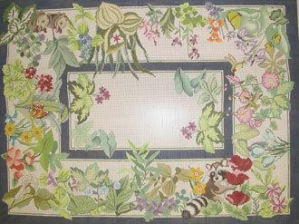 Animals and Flowers Rug     (Handpainted JP Designs)