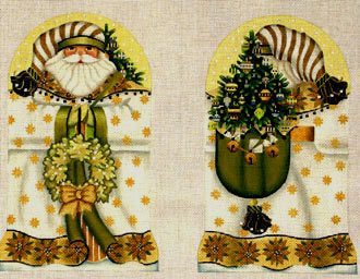 Golden Santa (2 sided standup)   (handpainted from Melissa Shirley)