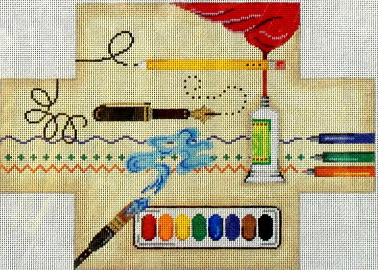 Art Supplies Brick Cover  (Handpainted by Patti Mann)
