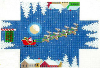 Santa Over the Rooftop Brick Cover    (handpainted by Susan Roberts)