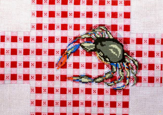 Crab on Tablecloth Brick Cover    (Handpainted by Needle Crossing)