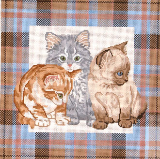 Kittens on Plaid    (handpainted by Meredith Collection)