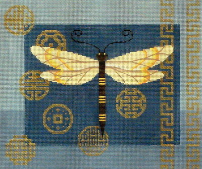 Dragonfly & Coins on Blue (JP Needlepoint Designs)
