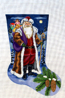 Snowy Night Stocking     (handpainted by All About Stitching)