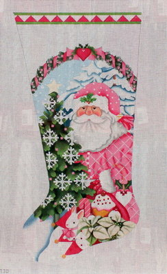 Pink Santa Stocking    (handpainted needlepoint canvas from Melissa Shirley)