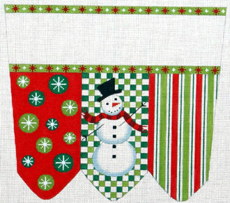 Snowman on Checks with Stripes & Circles Cuff (handpainted by Meredith Collection)