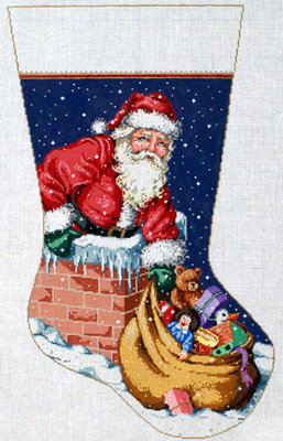 Up On The Roof Stocking   (handpainted bySandra Gilmore)