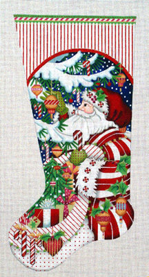 Candy Cane Claus Stocking   (hand painted needlepoint canvas from Melissa Shirley)