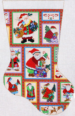 Santa Collage Stocking       (handpainted by Meredith Collection)