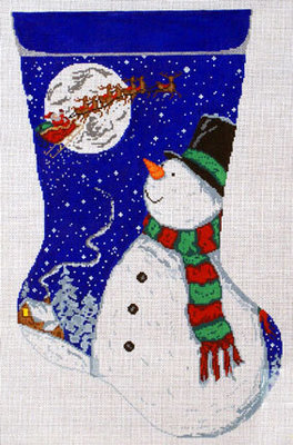 Snowman Stocking     (handpainted by Meredith Collection)