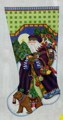 Fancy Santa Stocking      (handpainted from Melissa Shirley Designs)