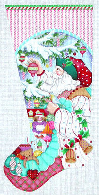 Peppermint Stick Santa Stocking   (handpainted from Melissa Shirley)