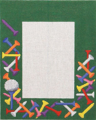 Golf Tees Picture Frame    (handpainted by Susan Roberts)