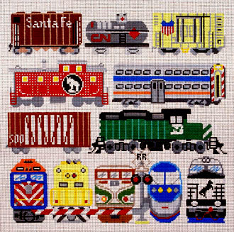 Train Cars     (handpainted by Susan Roberts)