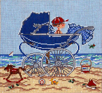 Baby Carriage/Boy   (Handpainted by Cooper Oaks)