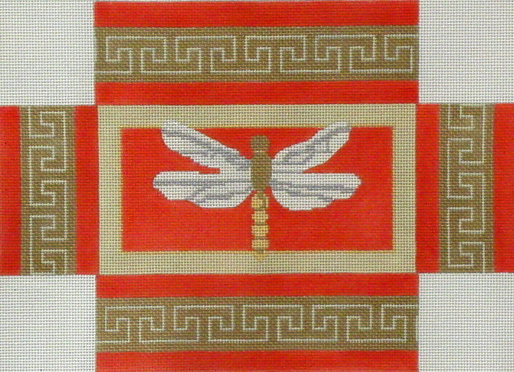Dragonfly Brick Cover  (handpainted from CBK Needlepoint Collection)