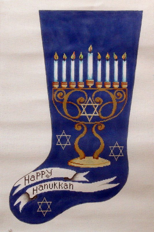 Happy Hanukkah Stocking       (hand painted from Patti Mann)