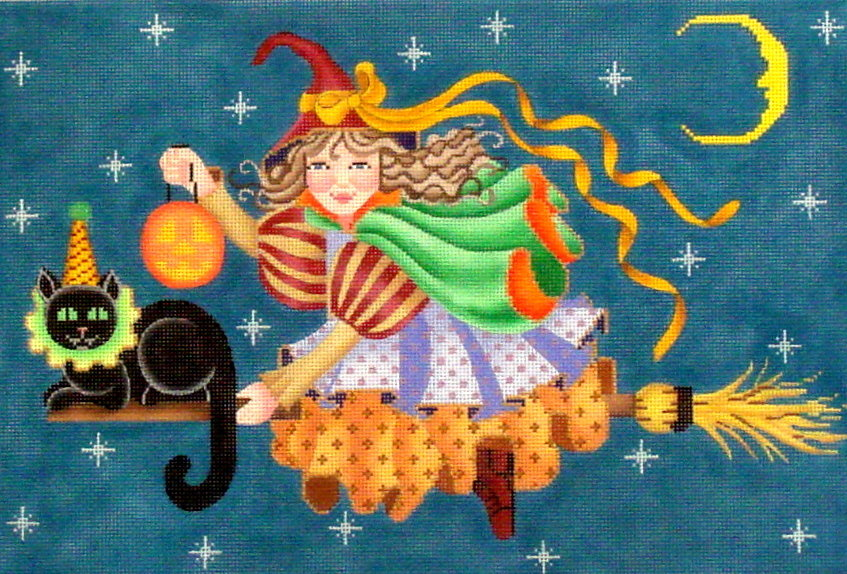 Little Witch with Broom   (Hand Painted by Brenda Stofft)