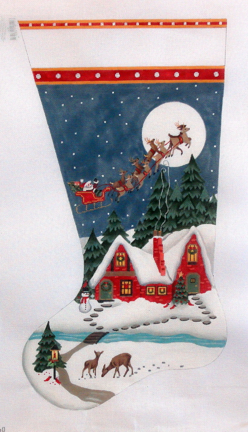 Snowy Red House Stocking   (hand painted from Melissa Shirley)