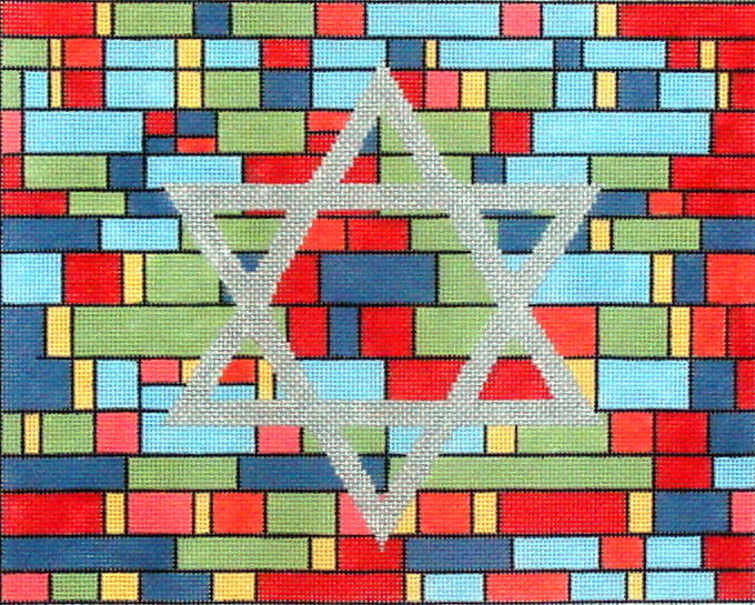 Red Stained Glass Tallis    (Handpainted by Alice Peterson Company)