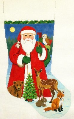 Santa with Baby Forest Animals   (Handpainted Needlepoint from Susan Roberts)