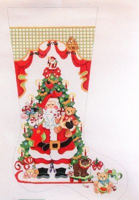 Santa in Front of Tree with Teddy Bears  (handpainted from Strictly Christmas)