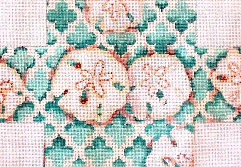 Sand Dollar Quatrefoil Brick Cover    (handpainted from Associated Talent)