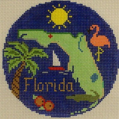 Florida Ornament     (handpainted from Silver Needle)