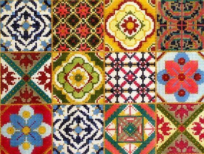 12 Square Patchwork  (handpainted by Alice Peterson)