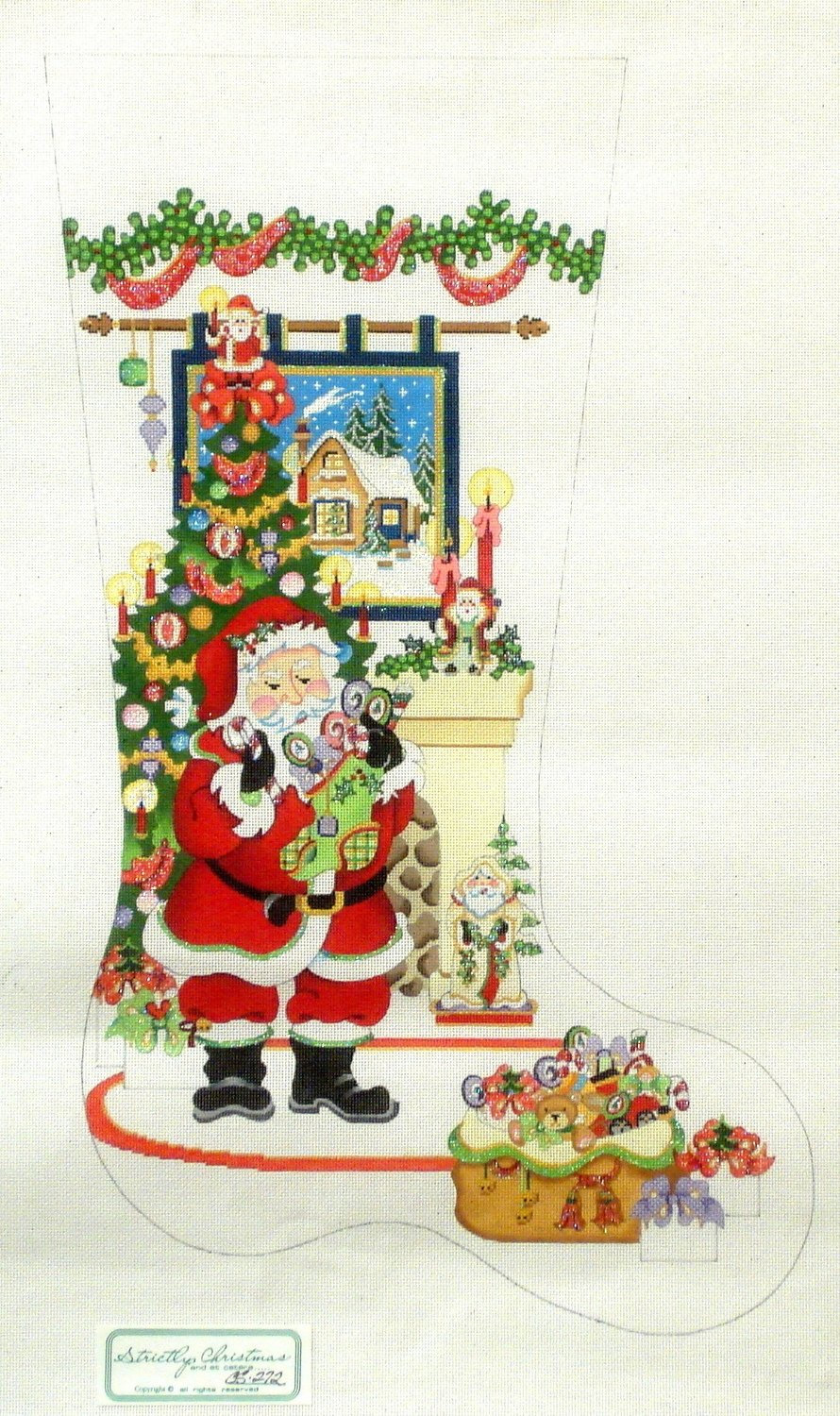 Santa with Fireplace and Tapestry  (Handpainted by Strictly Christmas)