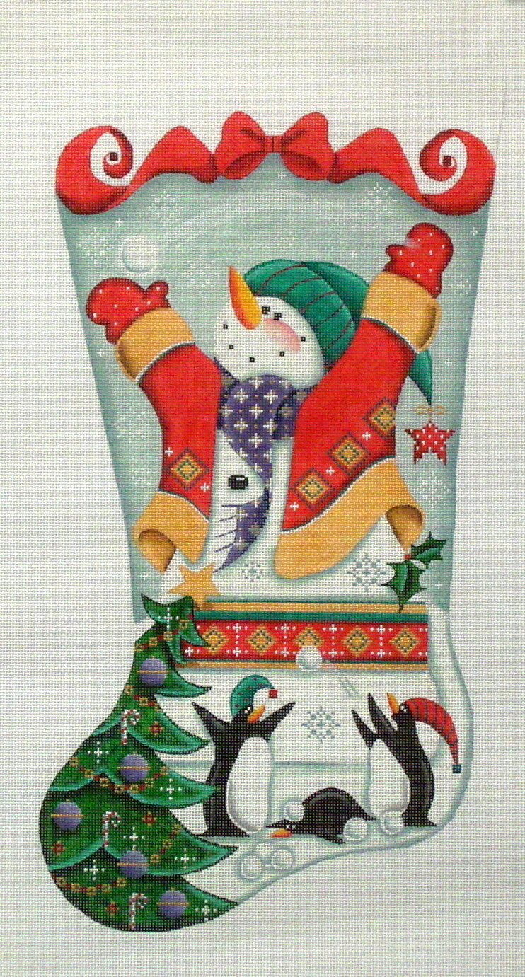 Snowmen and Penguins   (handpainted by Rebecca Woods)