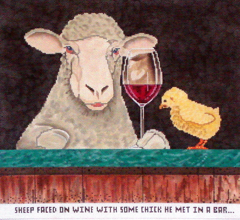 SHEEP Faced on Wine.......    (hand painted  from CBK Collection)