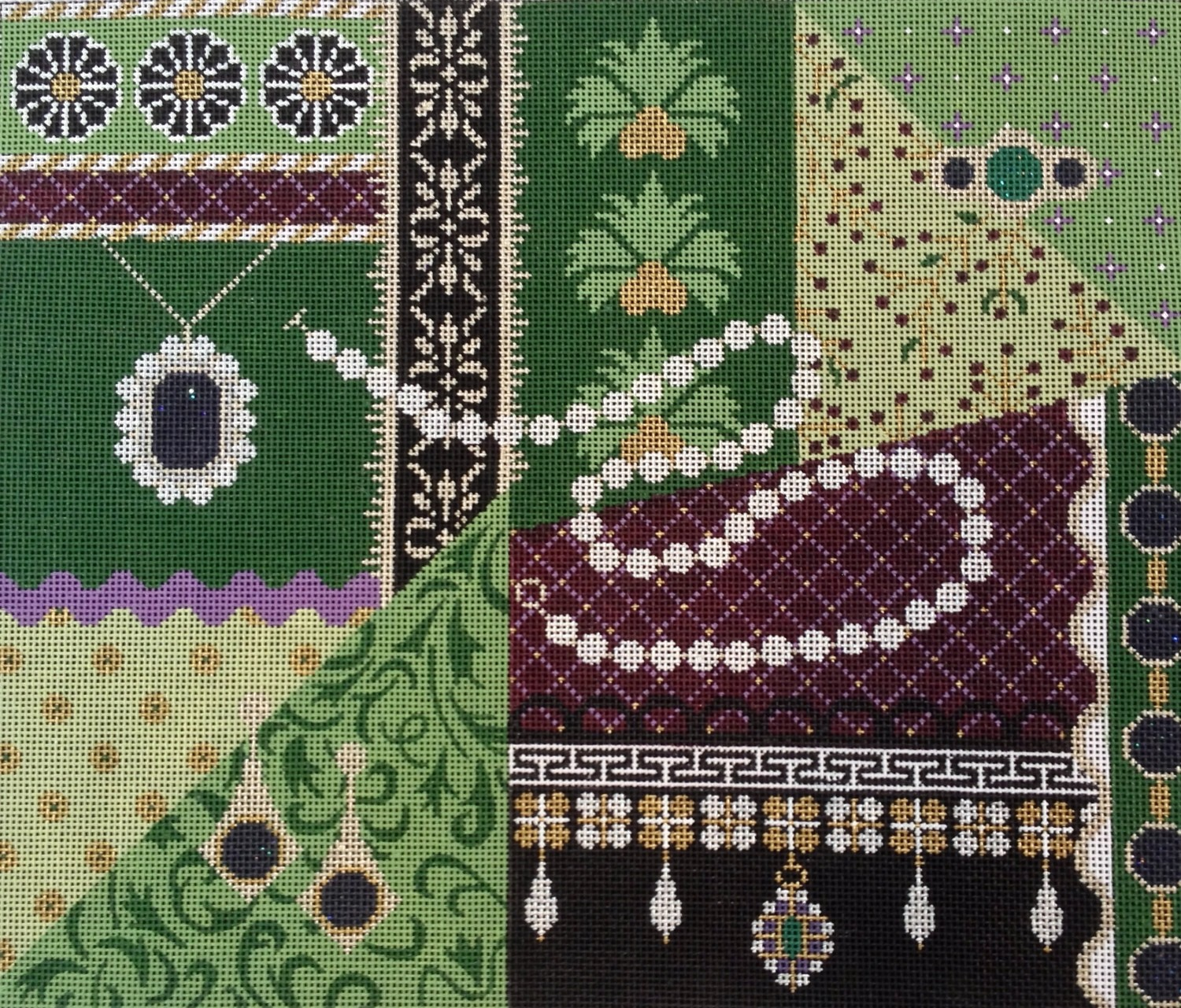 Green Royal Pain in the Tudor   (JHandpainted by JP Needlepoint Designs)