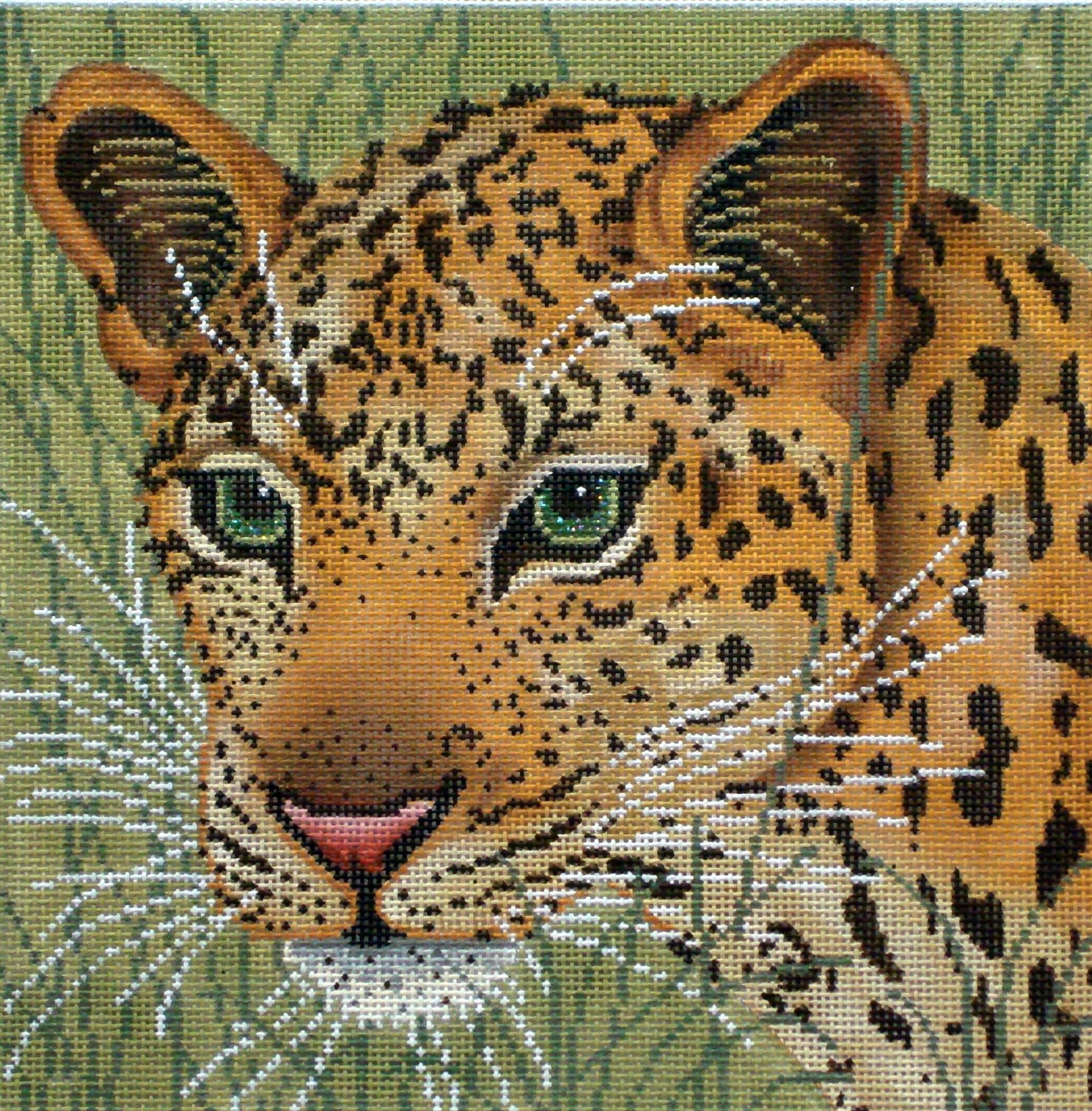 Leopard in Grasses    (handpainted needlepoint canvas by JP Needlepoint)