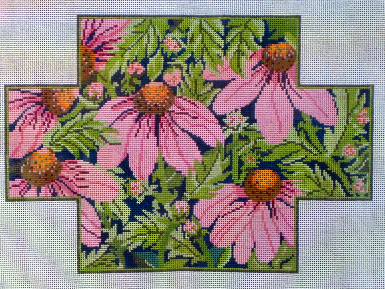 Pink Echinacea Brick Cover (stitch-painted from Whimsy & Grace)