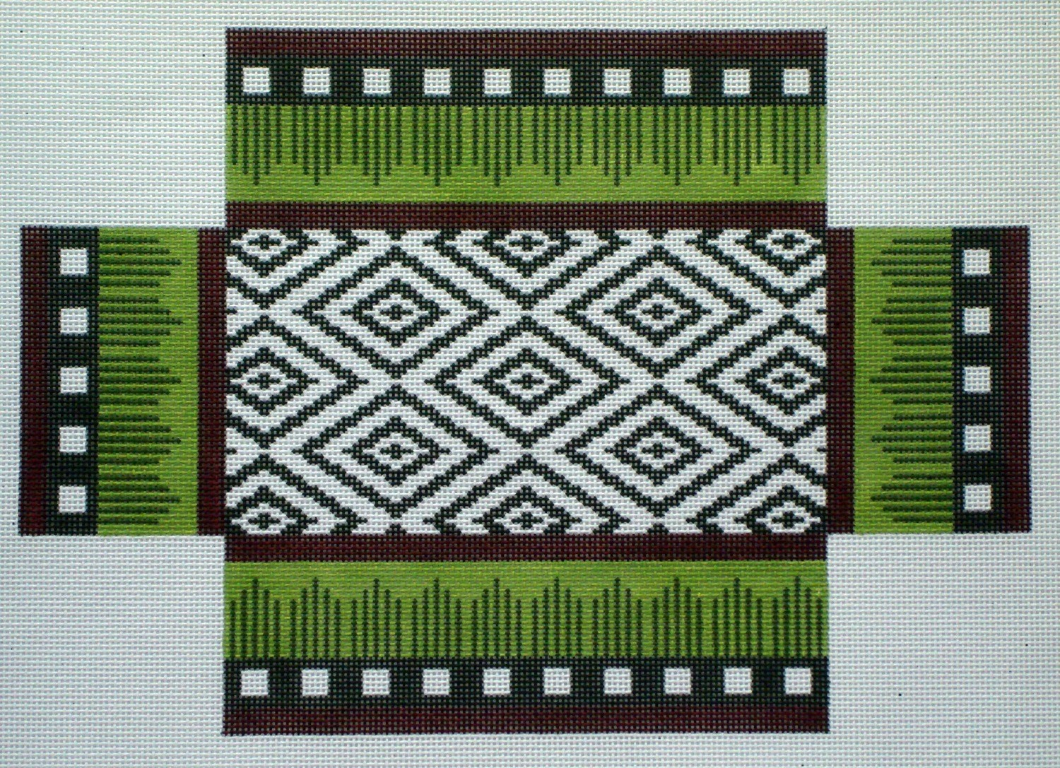 Burgundy & Brown Ikat Brick Cover (Handpainted by JP Needlepoint)