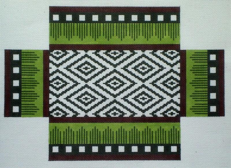 Burgundy & Brown Ikat Brick Cover (Handpainted by JP Needlepoint)