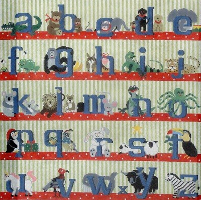 Alphabet Square Rug/Wall Hanging (Boy, Blue Letters) (handpainted by Kathy Schenkel)