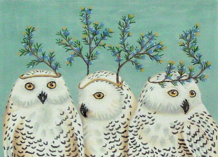 Festive Owls  (handpainted by Vikki Sawyer)