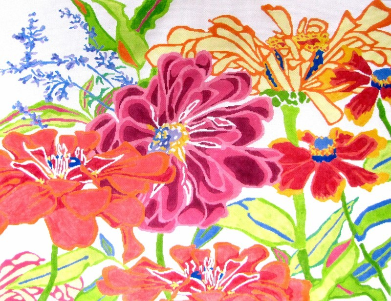 Zinnia Dazzle Rug     (handpainted by Jean Smith)