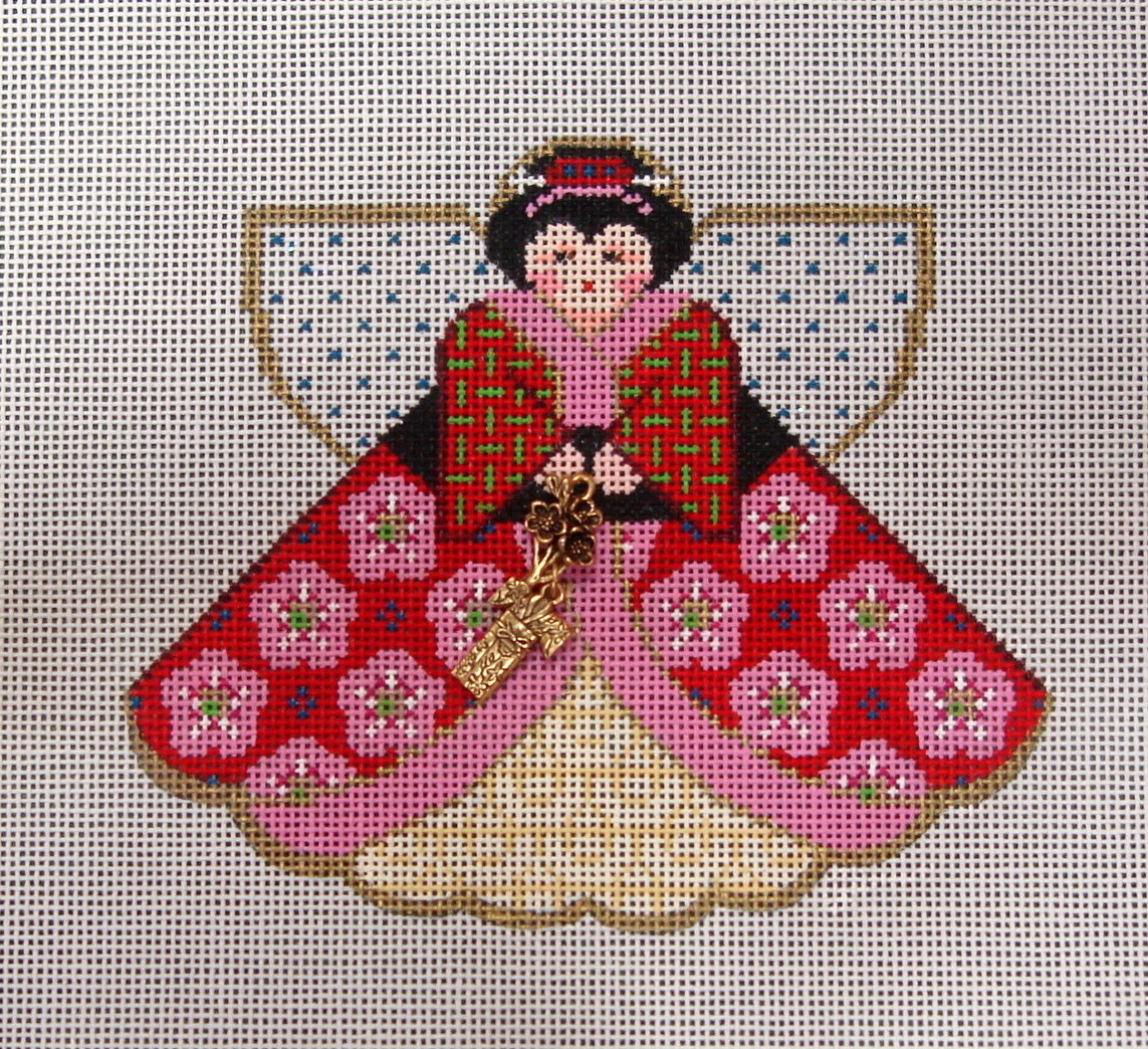 Geisha Girl (Angel with charms) (Handpainted by Painted Pony Designs)