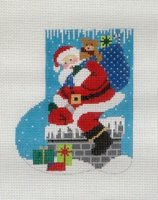 Down the Chimney Mini Sock    (Hand Painted by Shelly Tribbey Designs)