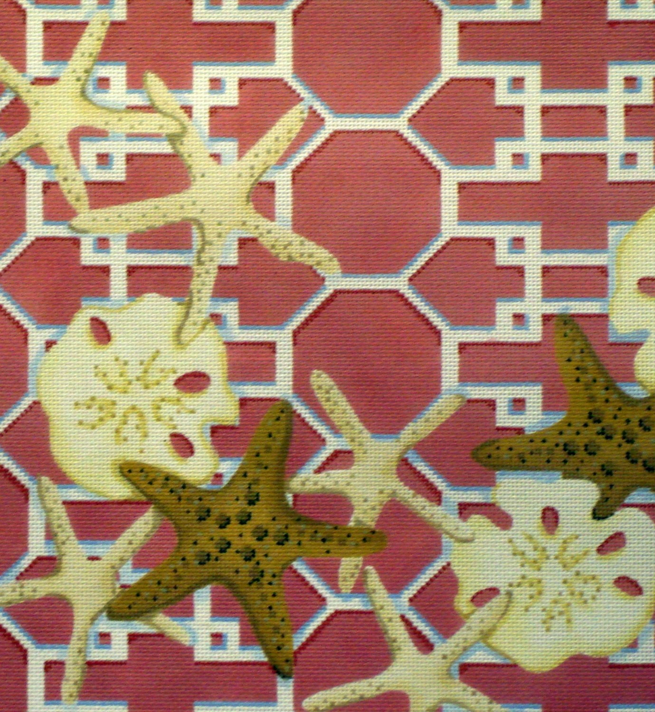 Starfish/Sand Dollar Lattice, Pink (Handpainted by Associated Talents)