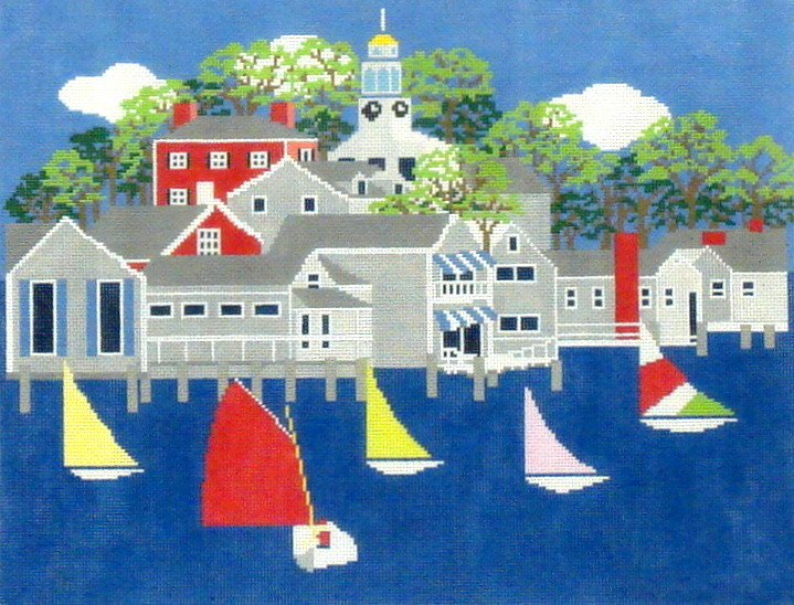 Nantucket Harbour     (handpainted from Wellesley Needlepoint Collection)