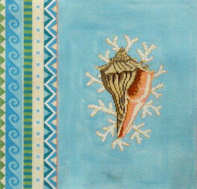 Geo Pattern Tulip Shell    (handpainted by Susan Roberts)