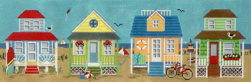 Beach Houses  (Hand painted canvas by Susan Roberts)