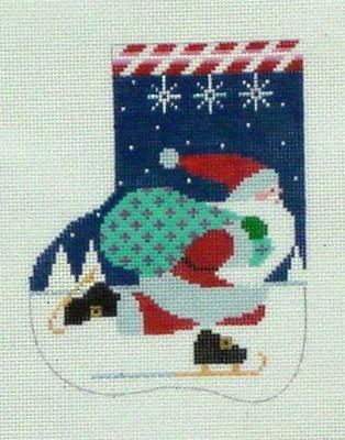 Skating Santa Mini Sock (Handpainted by Shelly Tribbey Designs)