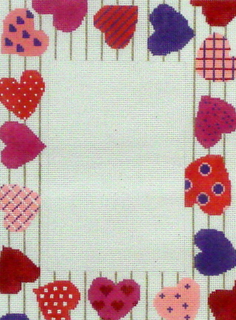 Happy Hearts  Picture Frame by Julia's Needleworks (Hand Painted Needlepoint Canvas)